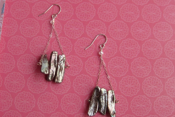 Brown Freshwater Stick Pearl Chandelier Earrings