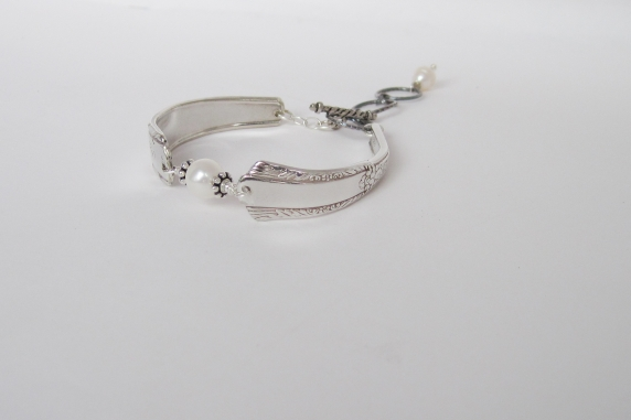 Antique silver plated mismatched spoon handle and Freshwater Pearl Bracelet.