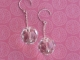 Clear Faceted Glass Disco Ball Earrings on Sterling Silver