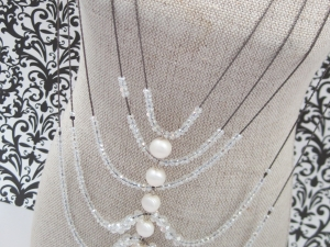 Long Gunmetal, Freshwater Pearl and Crystal Rib Necklace
