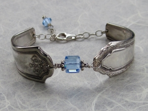 Mismatched Antique silver plated spoon handle and December Birthstone color Swar