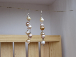 Freshwater Pearl and Sterling Silver Two Strand Earrings
